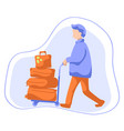 man with luggage on trolley flat vector image vector image