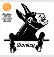 peeking donkey - cheerful neighing donkey vector image vector image