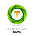 Realistic letter t logo in the colorful circle