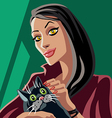 red witch petting black cat vector image