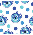 seamless pattern with blue greek evil eye vector image vector image