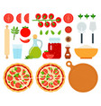 set margarita pizza icons flat vector image