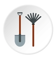 Shovel and broom icon flat style vector image vector image