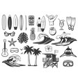 surfing and tropical beach vacation icons vector image vector image