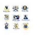 tailor shop fashion store logo design set dress vector image