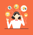 technical support assistant woman flat design