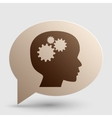 Thinking head sign Brown gradient icon on bubble vector image vector image
