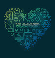 vlogger heart colorful outline vector image vector image