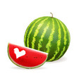 watermelon realistic slice watermelon with heart vector image vector image