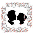 wedding silhouette with flourishes frame vector image vector image