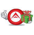 with gift ark coin character cartoon vector image vector image