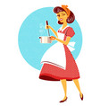 young housewife cooking soup in her kitchen room vector image vector image