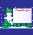 1 happy new year greeting card for the snowman in vector image vector image