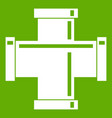 black pipe fitting icon green vector image vector image