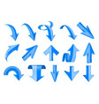 blue 3d arrows shiny up and down signs vector image vector image