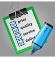 Blue felt tip pen and green checklist vector image vector image