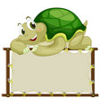 board template with cute tortoise on white vector image vector image