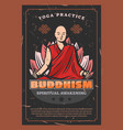 buddha monk and lotus buddhism religion vector image