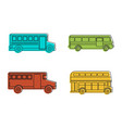 bus icon set color outline style vector image vector image