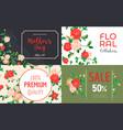 camellia flower banner set cartoon style vector image