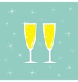 Champagne glasses with sparkles Greeting Card vector image vector image