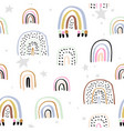 childish seamless pattern with hand drawn rainbows vector image vector image