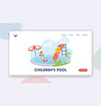 children in swimming pool landing page template vector image vector image