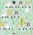 children s seamless pattern with cute animals vector image vector image