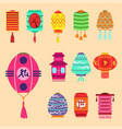 chinese lantern collection set paper vector image vector image
