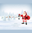 christmas holiday background with santa claus and vector image