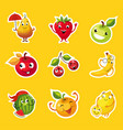 collection fruits stickers pear apple orange vector image vector image