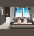 couple having breakfast in bed vector image vector image
