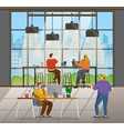 coworking people office interior with workers vector image vector image
