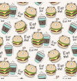 cute bear burger and coffee cup pattern background vector image vector image