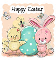 cute cartoon rabbit and chicken with egg vector image vector image