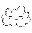 cute cloud cartoon in black and white vector image vector image