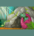 dinosaur hatching egg in front of cave vector image vector image