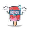 diving ice cream character cartoon vector image