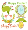 egg birds flowers easter vector image