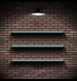 empty shelves on a background a brick wall vector image