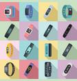 Fitness bracelet icons set flat style
