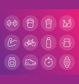 fitness training icons linear set vector image vector image