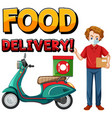 food delivery logo with bike man or courier vector image