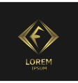 Golden F letter vector image vector image