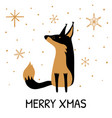 greeting card with hand drawn cute fox and vector image