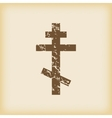 Grungy orthodox cross icon vector image vector image