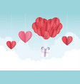 happy valentines day origami balloons hearts gift vector image