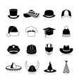 Hats And Caps Black Icons vector image