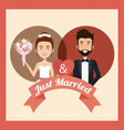 just married couple with hearts avatars characters vector image