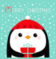 merry christmas penguin bird head face holding vector image vector image